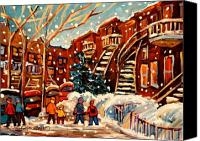 Leonard Cohen Canvas Prints - Montreal Street In Winter Canvas Print by Carole Spandau