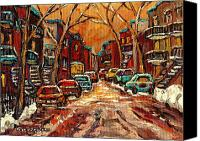 Transform Painting Canvas Prints - Montreal Streets In Winter Canvas Print by Carole Spandau