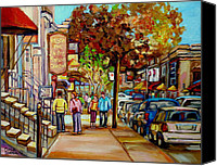 Montreal Restaurants Canvas Prints - Montreal Streetscenes By Cityscene Artist Carole Spandau Over 500 Montreal Canvas Prints To Choose  Canvas Print by Carole Spandau