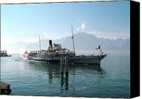 Vevey Canvas Prints - Montreux paddle steamer Canvas Print by Nick Diemel