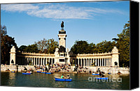 Rowboats Canvas Prints - Monument to Alfonso XII Canvas Print by Fabrizio Troiani