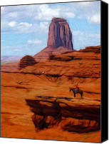 Expressionism Pastels Canvas Prints - Monument Valley Pastel Canvas Print by Stefan Kuhn