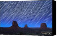 Starry Photo Canvas Prints - Monument Valley Star Trails 1 Canvas Print by Jane Rix
