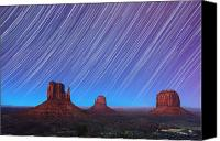 Heavens Canvas Prints - Monument Valley Star Trails  Canvas Print by Jane Rix