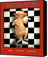 Pig Painting Canvas Prints - Moo Shoe Pork... Canvas Print by Will Bullas