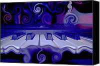 Blues Digital Art Canvas Prints - Moody Blues Canvas Print by Linda Sannuti