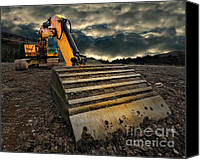 Yellow Photo Canvas Prints - Moody Excavator Canvas Print by Meirion Matthias