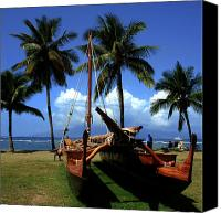 Hand Crafted Canvas Prints - Moolele Canoe at Hui O Waa Kaulua Lahaina Canvas Print by Sharon Mau