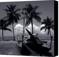 Monocromatico Canvas Prints - Moolele Hawaiian Sailing Canoe Hui O Waa Kaulua Maui Hawaii Canvas Print by Sharon Mau