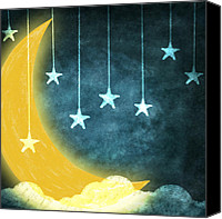 Old Pastels Canvas Prints - Moon And Stars Canvas Print by Setsiri Silapasuwanchai