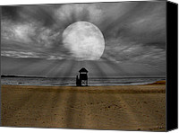 Shore Mixed Media Canvas Prints - Moon Beams Canvas Print by Ms Judi
