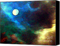 Red Moon Digital Art Canvas Prints - Moon Canvas Print by Dale   Ford