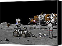 Science Fiction Canvas Prints - Moon Exploration, Artwork Canvas Print by Walter Myers