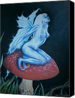 Mushroom Pastels Canvas Prints - Moon Faerie Canvas Print by Amber Burger