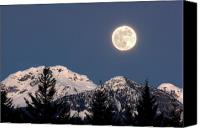 Full Moon Canvas Prints - Moon Glow Whistler Canada Canvas Print by Pierre Leclerc