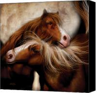 Horses Mixed Media Canvas Prints - Moon Mates Canvas Print by Carol Cavalaris
