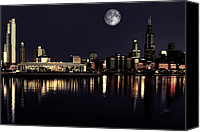 Chicago Skyline Digital Art Canvas Prints - Moon Over Chicago Canvas Print by Dancin Artworks