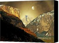 Freedom Mixed Media Canvas Prints - Moon Over Half Dome Canvas Print by Wingsdomain Art and Photography