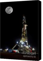 Gas Canvas Prints - Moon Over Latshaw 10 Canvas Print by Jonas Wingfield