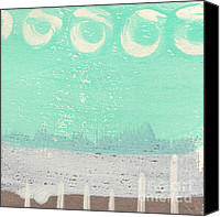 Moon Mixed Media Canvas Prints - Moon Over The Sea Canvas Print by Linda Woods