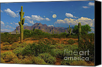 The Superstitions Canvas Prints - Moon over the Superstition Mtn Canvas Print by Brian Lambert