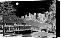Yachts Digital Art Canvas Prints - Moon Over Vancouver Canvas Print by Will Borden