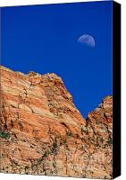 Desert Canvas Prints - Moon Over Zion Canvas Print by Greg Norrell