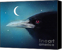 Goth Canvas Prints - Moon Raven Canvas Print by Robert Foster