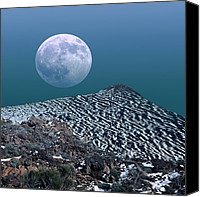 Snowy Night Canvas Prints - Moon-rise Over A Volcano Canvas Print by Detlev Van Ravenswaay