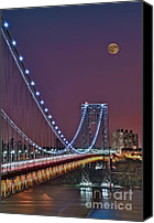 Twilight Canvas Prints - Moon Rise over the George Washington Bridge Canvas Print by Susan Candelario