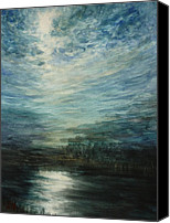 Estephy Sabin Figueroa Painting Canvas Prints - Moon Shimmer Canvas Print by Estephy Sabin Figueroa