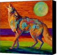Western Canvas Prints - Moon Talk - Coyote Canvas Print by Marion Rose