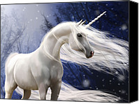 White Horse Painting Canvas Prints - Moonbeam the Second Canvas Print by Kate Black