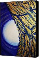 Angel Blues  Painting Canvas Prints - Moonbeams And Angle Wing Canvas Print by Nedra Russ