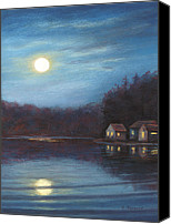 Moonlight Pastels Canvas Prints - Moonlight at Beaver Lake Canvas Print by Elaine Farmer