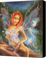 Artistic Nude  Canvas Prints - Moonlight Faerie Canvas Print by Crispin  Delgado