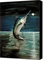 Moonlight Pastels Canvas Prints - Moonlight Marlin Canvas Print by Elisabeth Dubois