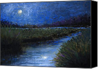 Moonlight Pastels Canvas Prints - Moonlight Marsh Canvas Print by Susan Jenkins