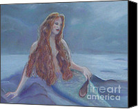 Moonlight Pastels Canvas Prints - Moonlight Mermaid Canvas Print by Julie Brugh Riffey