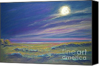 Moonlight Pastels Canvas Prints - Moonlight on the Dunes Canvas Print by Addie Hocynec