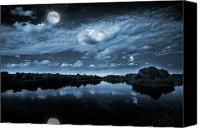 Outdoor Photo Canvas Prints - Moonlight over a lake Canvas Print by Jaroslaw Grudzinski