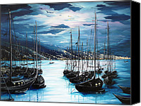 Yachts Painting Canvas Prints - Moonlight Over Port Of Spain Canvas Print by Karin Best