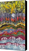 Fantasy Tapestries - Textiles Canvas Prints - Moonlight Over Spring Canvas Print by Carol  Law Conklin