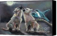 Wolf Cubs Canvas Prints - Moonlight Serenade Canvas Print by Carol Jobe