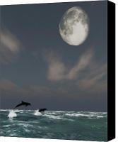 Dolphins Digital Art Canvas Prints - Moonlight Swim Canvas Print by Richard Rizzo