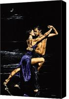 Dancers Canvas Prints - Moonlight Tango Canvas Print by Richard Young