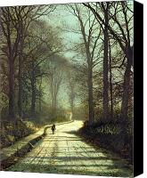 Atkinson Canvas Prints - Moonlight Walk Canvas Print by John Atkinson Grimshaw