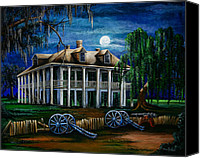 Cannon Canvas Prints - Moonlit Plantation Canvas Print by Elaine Hodges