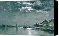 Grey Clouds Painting Canvas Prints - Moonlit Seascape Canvas Print by Eugene Louis Boudin