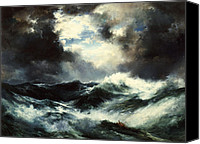 Shipwreck Painting Canvas Prints - Moonlit Shipwreck at Sea Canvas Print by Thomas Moran